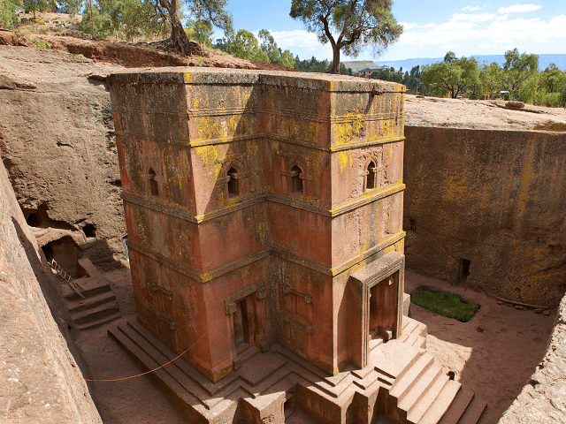 Kostol z kameňa v Lalibela, Etiópia
